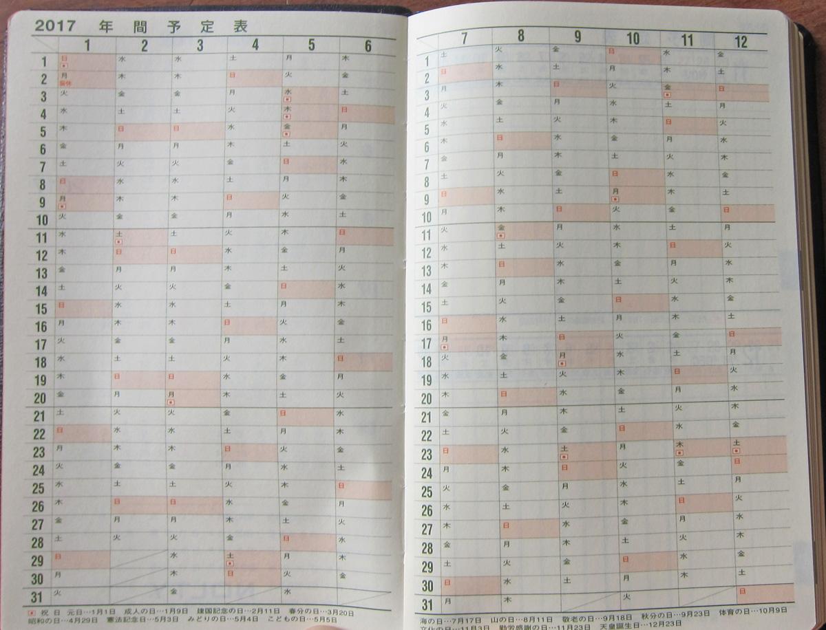能率手帳ゴールドの年間カレンダー