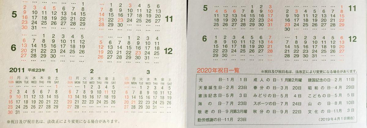 新旧能率手帳ゴールドのレイアウト差分(年間カレンダー)